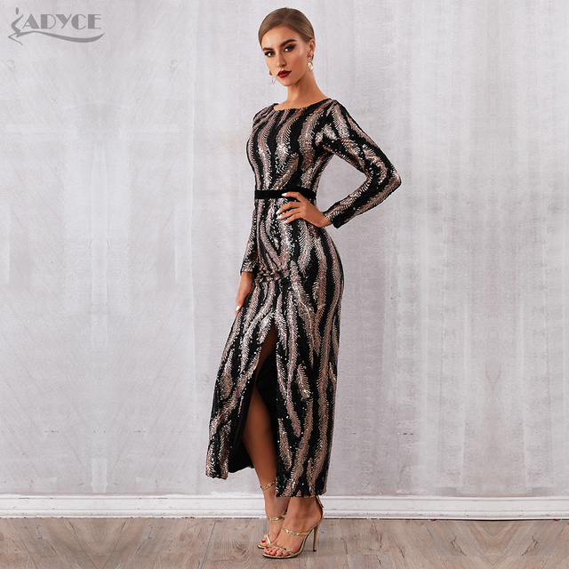 Adyce 2019 New Winter Sequin Celebrity Evening Runway Party Dress Women Vestidos Sexy Backless Maxi Long Sleeve Night Club Dress 1
