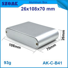 1 piece small silvery aluminium instrument housing electrical control case enclosure 26*108*70mm