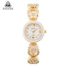 2016 Women Watch Analog Quartz Bracelet watches Lady Dress Watches Stainless Steel Rhinestone flowers Strap Clock Women's