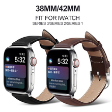 MU SEN Leather Watchb Apple watch bracelet belt black watchbands genuine leather strap watch band  38mm 42mm iwatch series 3/2/1 все цены