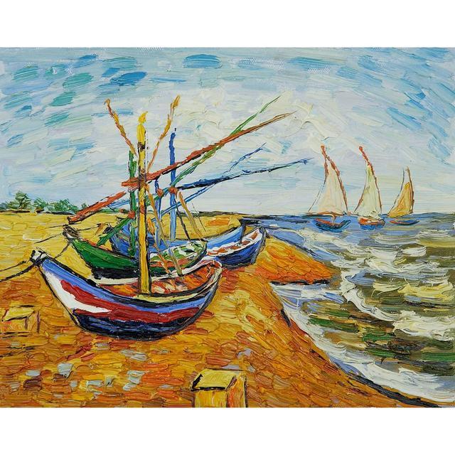 Grande taille vincent van gogh mur paysage peinture l 39 huile sur toile bateaux st maries art - Peinture a l huile van gogh ...
