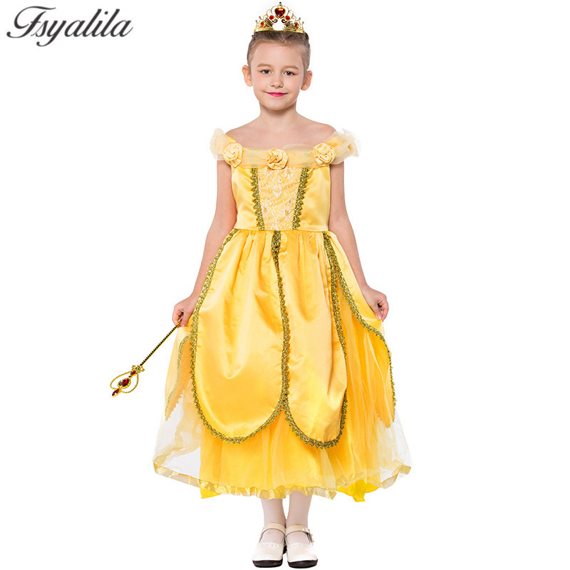 Princess Bella Costume Girls Princess Dress Yellow Halloween Costume Stage Show Children Day Beauty and the Beast Cosplay Unfirm