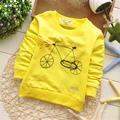 2016 Primavera e Outono Meninos Bebê Dos Desenhos Animados da bicicleta Camisetas, Crianças Bonito Da Moda pullovers, V1190B