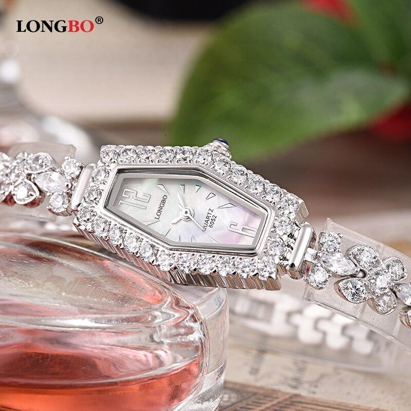 Watch Women Luxury Brand LONGBO Thin Rose Gold Rhinestone Crystal Ladies Designer Waterproof Quartz Wrist Watches relojes 6052 mance ladies brand designer watches