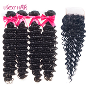 USEXY HAIR Peruvian Deep Wave Bundles With Closure 3/4 Human Hair Bundles With Closure Remy Hair Weave Extensions