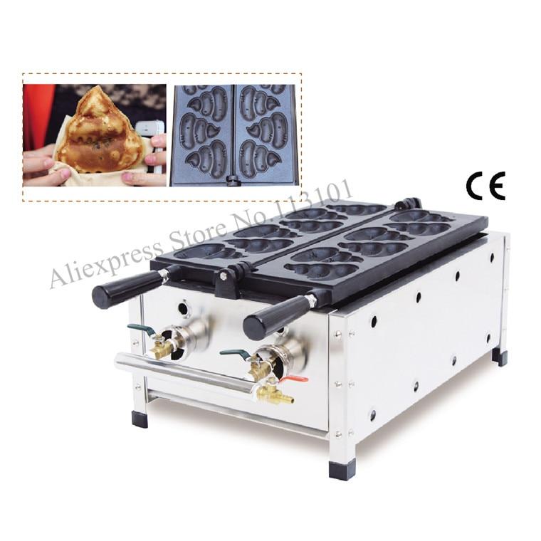Korean style fat burning waffle gas type shit shaped waffle maker commercial gas excrement shape waffle machine