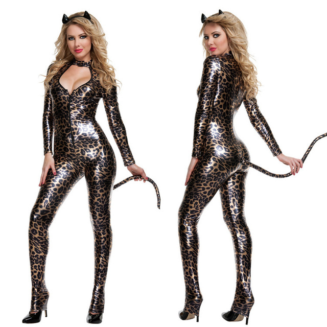Deluxe Sexy Leather Pvc Metallic Leopard Catsuit Cheetah Catwoman Halloween Costumes Cat Women Cosplay Night Club  sc 1 st  AliExpress.com & Deluxe Sexy Leather Pvc Metallic Leopard Catsuit Cheetah Catwoman ...