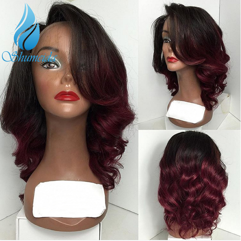 SHUMEIDA Ombre Color Full Lace Wig With Baby Hair Brazilian Remy Human Hair Deep Wave Wigs