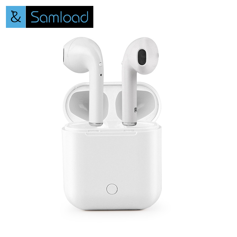 Samload I7s Tws Bluetooth Earbuds Ture Wireless Earphone Stereo Headphones with Charging Box for XiaoMi Andorid apple iPhone8/7 dacom bluetooth earphone mini wireless stereo headset tws ture wireless earbuds charging box for iphone xiaomi android phone