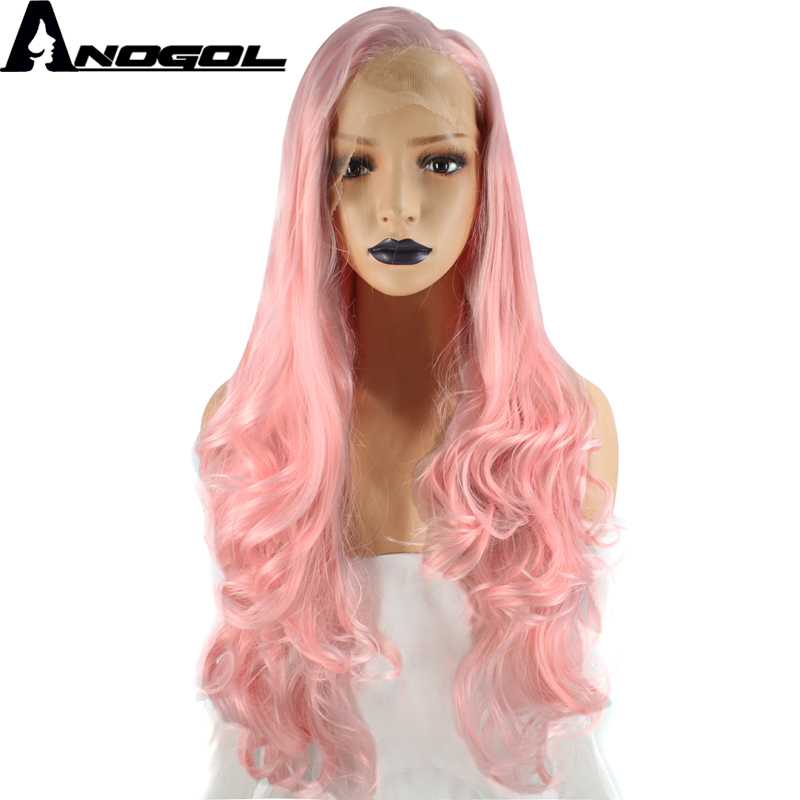 Anogol High Temperature Fiber Free Part Long Body Wave Pink Synthetic Light Brown Swiss  ...