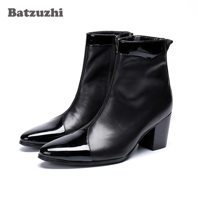 Batzuzhi 7cm High Heels Men Boots Pointed Toe Black Genuine Leather Boots Men Zip Knight Party Boots For Men Bota Masculina
