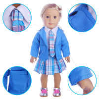 Doll Suit Shirt Tie Jacket Plaid Skirt A Total Of Four Pieces For 18 Inch American