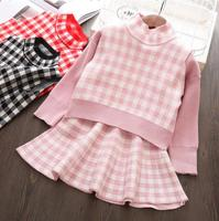 New Autumn Baby Girls Knitting Plaid Dress Sets: Vest+Sweater+Skirts 5 sets/lot Wholesale High Quality Free shipping