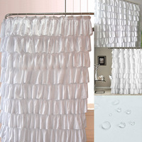 High Quality Ruffle Shower Curtain Polyester Fabric Cloth Curtains for Bathroom Bathing VE