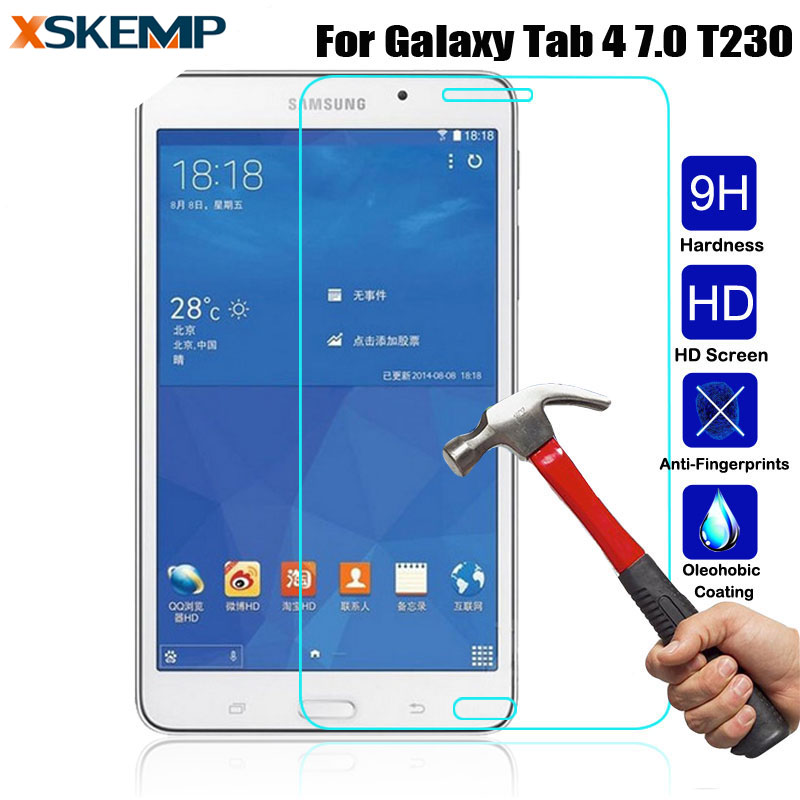 For Samsung Galaxy Tab 4 7.0 T230 T231 T235 Clear 0.3MM Scratch-Resistant No Fingerprint HD Screen Protector Tempered Glass Film