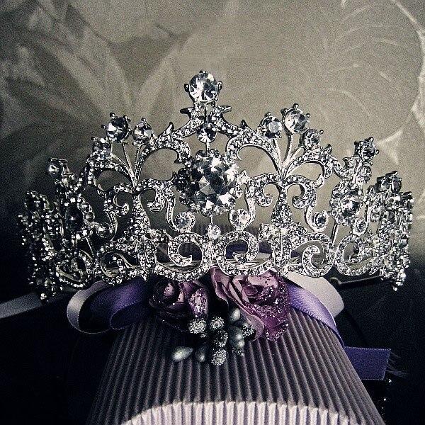 Hermosa Tiara de cristal nupcial chapada en plata Vintage accesorios para el cabello Austria diamantes de imitación reina desfile diadema de Graduación