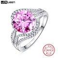Comercio al por mayor de 100% anillo de plata 925 aros de Lujo 5 Carat pink topaz anillo de Los Anillos de Boda para Las Mujeres anel anéis de diamante hembra anillo