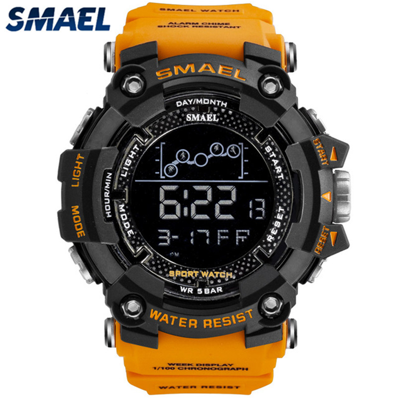 SMAEL Mens Watches Orange Multifunction Sport Waterproof Casual New-Fashion Relogio Dial