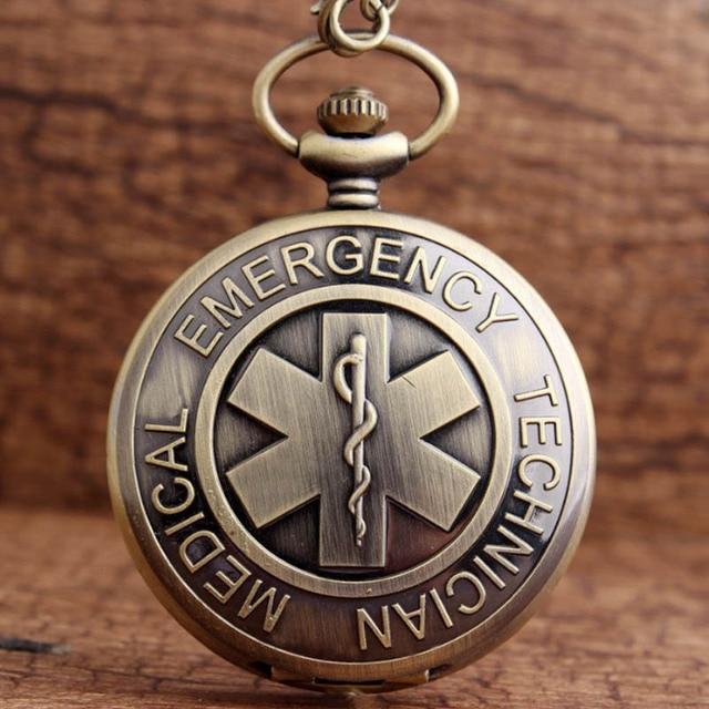 Vintage EMT Paramedic Quartz Pocket Watch Necklace With Chain Retro Bronze Fob C