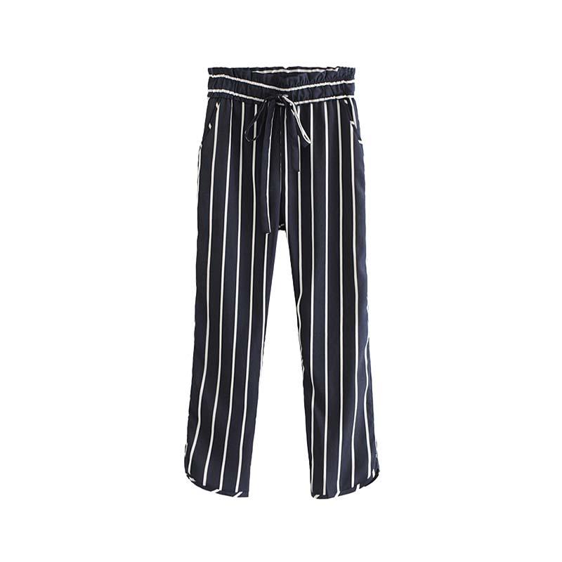 Vadim frauen vintage gestreiften hosen taschen elastische taille kordelzug krawatte damen streetwear ankle länge hosen pantalones KA170