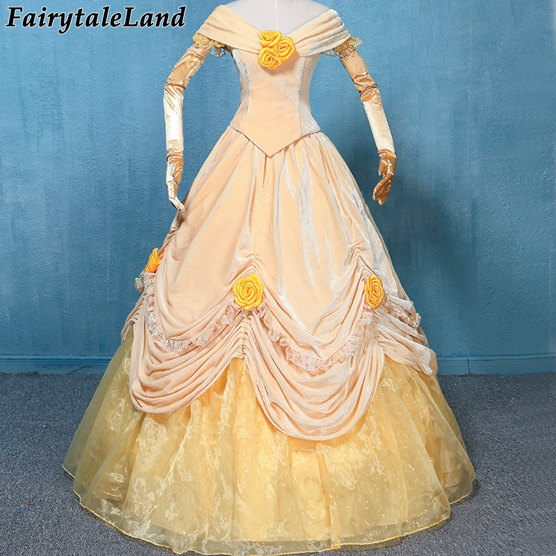 Belle Dress Carnival Halloween Princess Costume Lace up Velvet Yellow Belle Cosplay Costume Custom made party costume