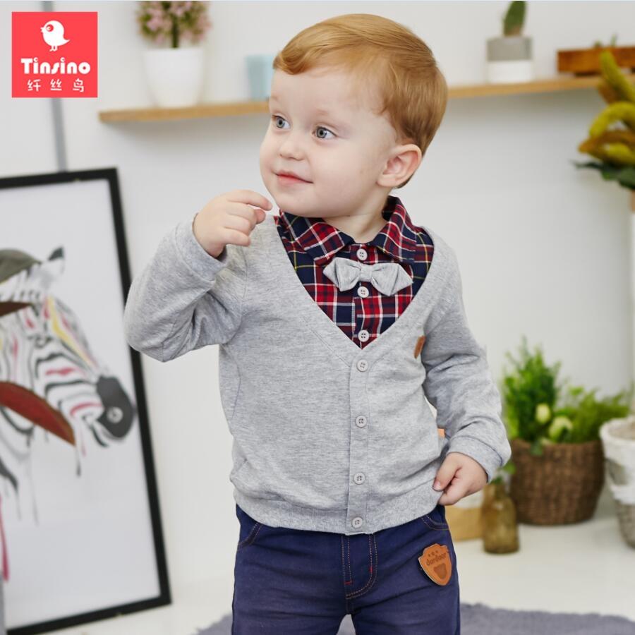 Tinsino Children Boys Autumn Grid Turn down Collar T-shirts Infant Baby Plaid Sweatshirts Kids Spring Tops Clothes Kids Clothing