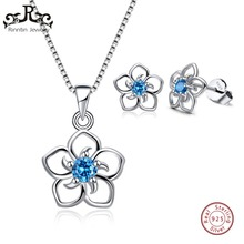 hot deal buy rinntin genuine 925 sterling silver jewelry sets for women aaa zircon flower necklaces pendants stud earrings jewelry sets tss22