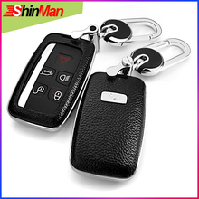 цена на ShinMan 6color Top Layer Leather + ABS Car leather key cover For Jaguar XE XJ XJL XF XF C-X16 V12 guitar F X type Key Case shell