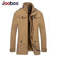 JOOBOX Autumn Winter Jacket Men Casual Brand Clothing High Quality Fleece Warm Mid Long Coat Army