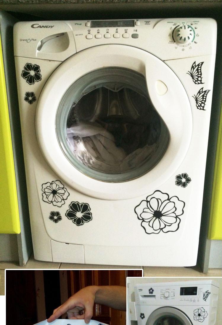 HTB1nAN8KFXXXXavXVXXq6xXFXXXN - High Quality Household Washing Machine Refrigerator Stickers Flowers Butterflies Wall Stickers Home Decor For Kitchen Bathroom