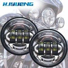 Accesorios para motocicleta, faro antiniebla led negro para Moto, faro redondo de 4 1/2 pulgadas para Harley, luces auxiliares cromadas
