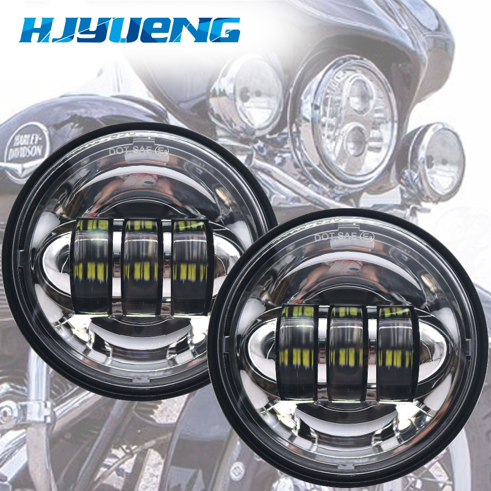 Motorcycle Accessories Black  led Moto Fog Lamp 4 1/2 Inch Round Headlamp for Harley  Chrome Auxiliary Lights