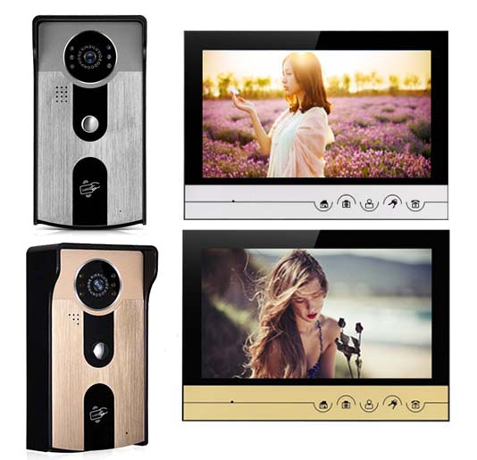 XINSILU Intercom Doorbell Home Security System 9Color Video Door Phone Touch Key Monitor w/t SD Card Slot IR FRID Camera, 1V1
