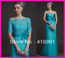 2014 Vintage Turquoise Lace Chiffon Mother of the Bride Evening Dresses With Jacket M1751