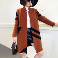 2017 autumn and winter new large size knitted coat long long sleeved woolen jacket women's double sided thickening Overcoat A488