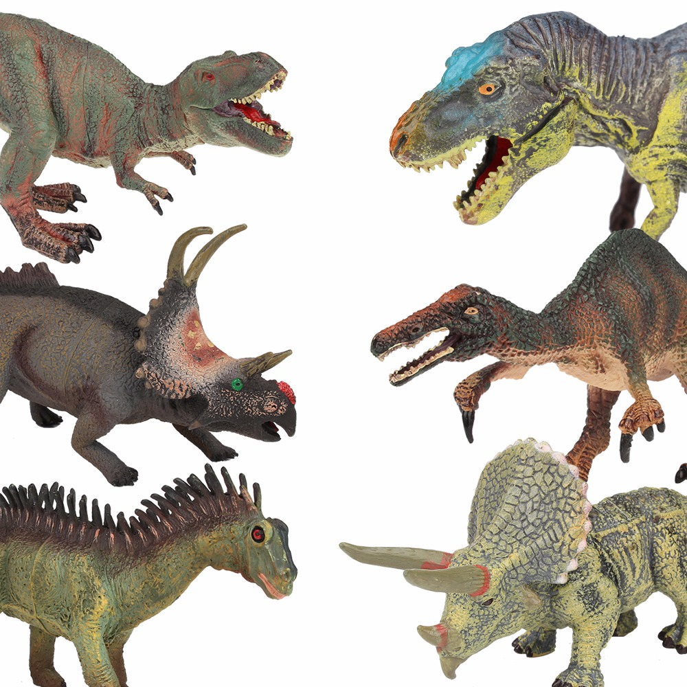 Lamwin 6Pcs/Lot Plastic Dinosaur Collection Toy Set Middle Hollow Realistic Model Figure Dinossauro Egg Gift With Trees lamwin 6pcs lot large dinosaur toy collection set jurassic world park hollow model figure free gift dinossauro egg