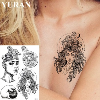 YURAN Black Beauty Thinker Universe Tattoos Stickers Sketch Bulb Arm Tattoo Temporary Women Men Sexy Custom DIY Tatoos Supplies image