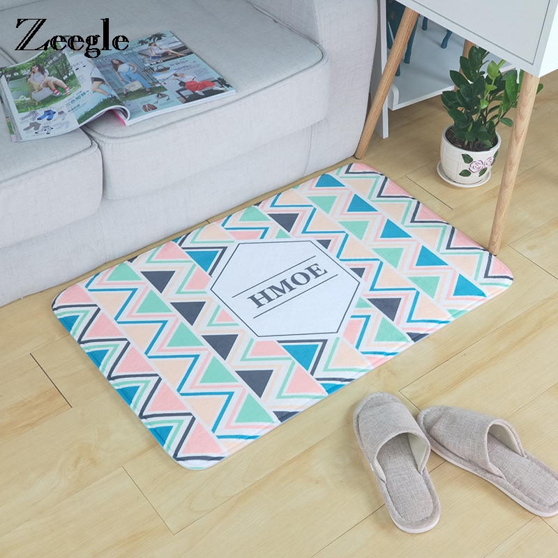 Zeegle Absorbent Bathroom Mats Geometric Welcome Floor Mats Kitchen Carpet Doormat Area  ...