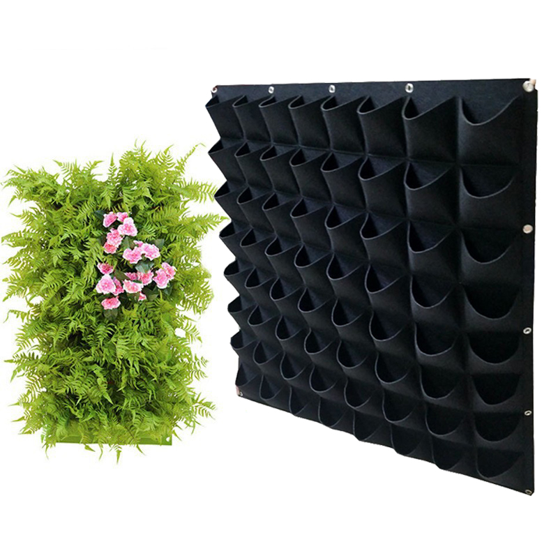 Garden Vertical Planter Multi Pocket Wall Mount Living Growing Bag Felt Indoor Outdoor Pot Wall Hanging Planting Bag Black Green