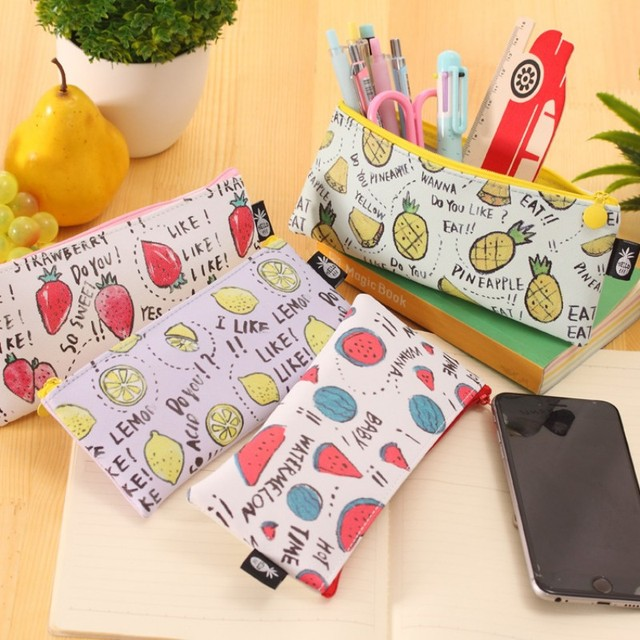 7eb4337fcf Cute Fruit school pencil case for girls Kawaii Watermelon Lemon PU leather pen  bags Korean stationery pouch Office supplies gift