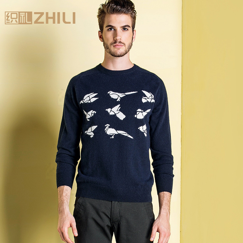 Winter Men Jumper 100% Pure Cashmere Knitted Sweater O-neck Long Sleeve Warm Pullovers Male 2017 New Sweaters Plus Size Clothes