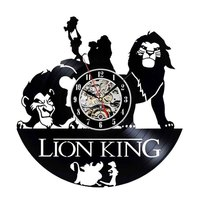 Animal Wall Clock Modern Design Lion King Cartoon Wall Clocks 3D Decorative Classic Vinyl LP Record Watch Art Home Decor Silent