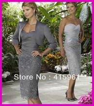 Dark Grey Short Lace Sheath Mother of the Bride Gowns Dresses With Jacket M1389