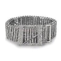 Merk metalen ketting riemen Vrouwen Diamante crystal Ketting Riem Volledige Strass bruid breed Bling Vrouwelijke Taille Riem