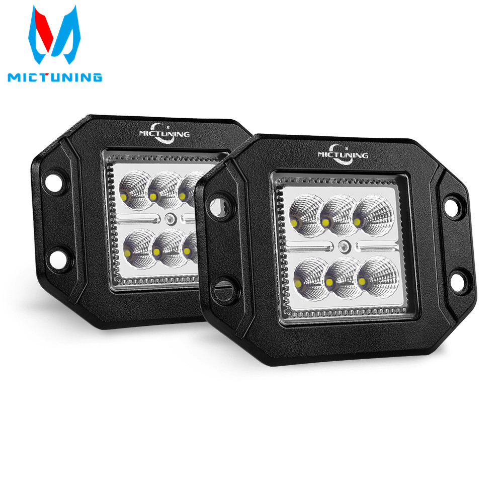 MICTUNING 2PCS 18W Flood LED Work Light Bar Flush Mount Driving Light Bar Offroad Fog Lamp For 4X4 J-eep ATV UTV Truck Boats