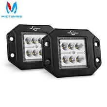 MICTUNING 2PCS 18W Flood LED Work Light Bar Flush Mount Driving Light Bar Offroad Fog Lamp for 4X4 J eep ATV UTV Truck Boats