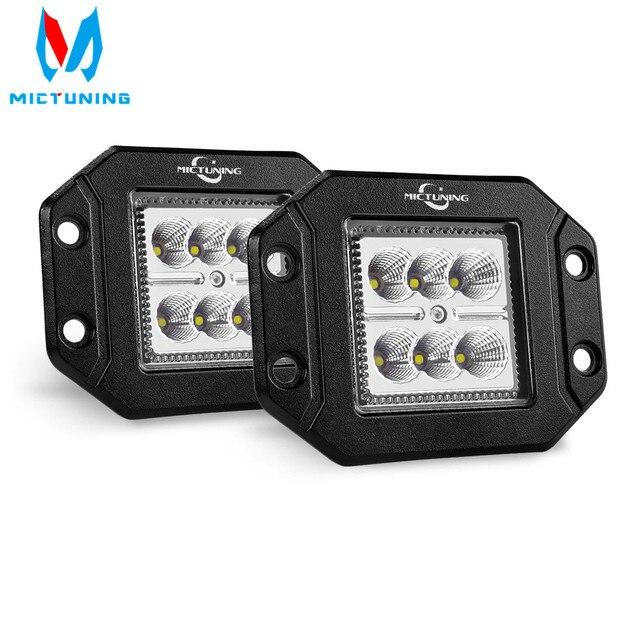 MICTUNING 2PCS 18W ไฟ LED ทำงาน Light Bar Flush Mount ขับรถ Offroad โคมไฟหมอกสำหรับ 4X4 J EEP ATV UTV รถบรรทุกเรือ