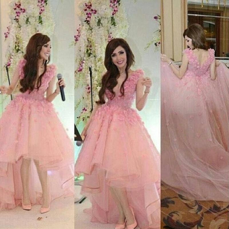 Fleurs Bal Robes Courte Basse De 3d Robe Arabe Devant Soirée Princesse Rose Haute Longo Longue Dos Blush zqS6BB