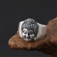 Fine Silver 990 Buddha Head Rings Men Women Fashion Oxide Thai Silver Sterling Silver 990 Jewelry Depolish Band Rings Free Box