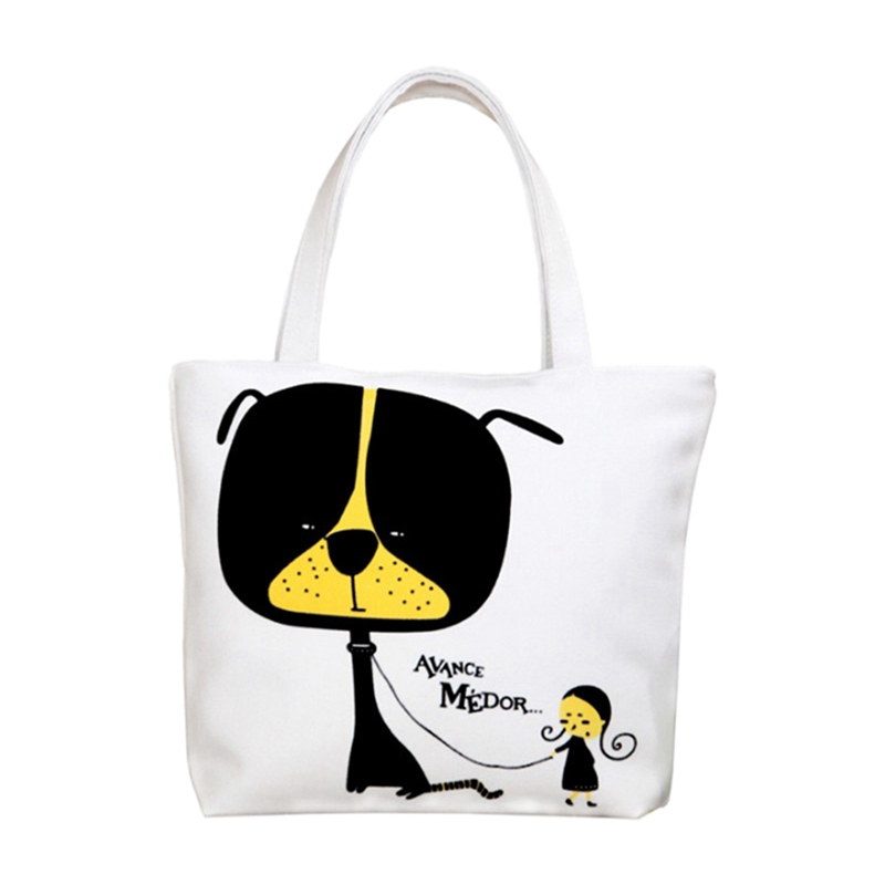Women Printing Canvas High Capacity Shoulder Bag White Cat Style 2
